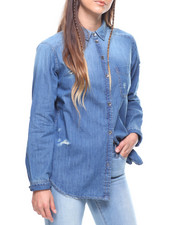 Women - Destructed Denim Shirt