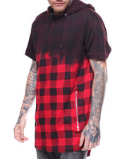 Buyers Picks - OMBRE BUFFALO PLAID S/S HOODED TEE
