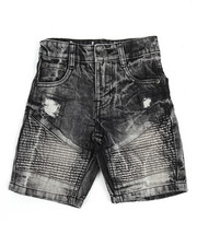 Bottoms - Moto Acid Wash Rip & Repair Denim Short (4-7)