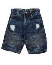 Bottoms - Moto Acid Wash Rip & Repair Denim Short (8-20)