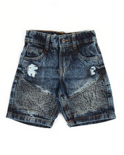 Bottoms - Moto Acid Wash Rip & Repair Denim Short (2T-4T)