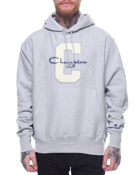 get online clear-cut texture well known Buy Reverse Weave Large C And Script Pullover Hood Men's ...