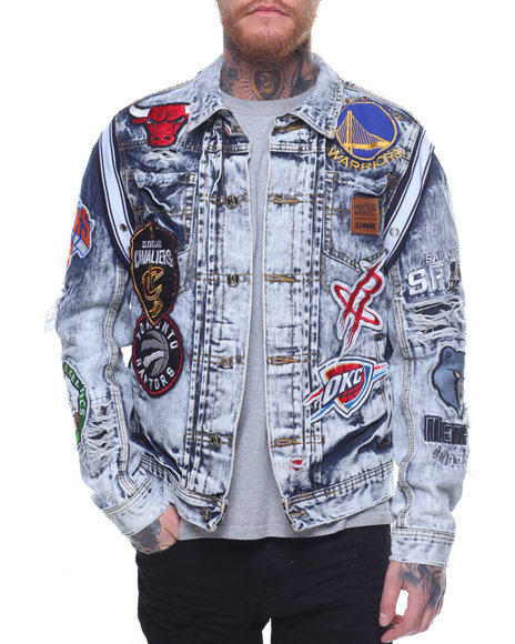 Buy NBA TEAM PATCHES JEAN JACKET Men s Outerwear from Heritage ... c02bb5e93