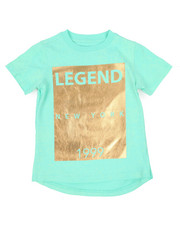 T-Shirts - Distressed & Foil Print Elongated Tee (4-7)