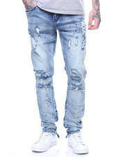 Jeans - Pacific PAINT SPECKLE DESTROYED KNEE Denim In Light Wash