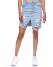 Fashion Lab - Destructed  Slit Front Denim Skirt