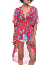 Fashion Tops - Printed Smocked Waist Button Front Kimono-2200140