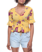 Fashion Tops - Floral Elbow Sleeve Flounce/Tie Front