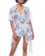Fashion Lab - Printed Smocked Waist Button Front Kimono