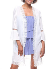 Fashion Tops - Flare Sleeve Kimono/Crochet Trim