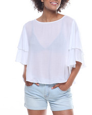 Fashion Tops - Tie Front Ruffle Sleeve Top