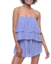 Jumpsuits - Stripe Ruffle Off Shoulder Romper-2200178