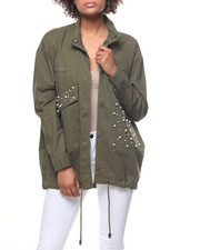 Outerwear - Twill Oversized Jacket/Pearl Accent Pockets-2200195