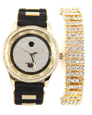 Accessories - 2 Pc Watch And Iced Out Bracelet Set