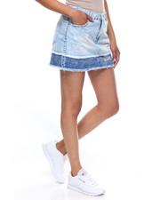 Women - 2-Tone Frayed Double Hem Denim Skirt