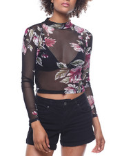 Fashion Lab - Printed Power Mesh Mock Neck Crop Top