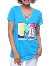 Women - MTV  Criss Cross Neck Tee
