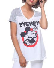 Women - Mickey V-Neck Yoke Hi-Low Tee