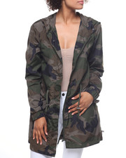 Outerwear - Oversized Nylon Camo Hooded Jacket