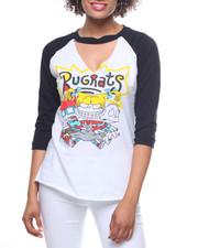 Graphix Gallery - Rugrats  3/4 Sleeve Raglan Choker Tee-2195478