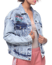 "Womens-Fall - ""Lucky Road"" Acid Wash Denim Jacket-2199964"