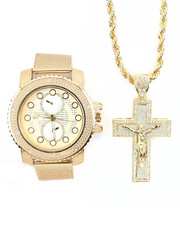 Accessories - 2 Pc Mesh Watch And Cross Necklace Set