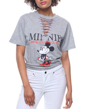 Graphix Gallery - Minnie Mouse Lace-up V- Neck Tee-2199250