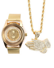 Accessories - 2 Pc Praying Hands Necklace And Watch Set