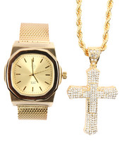Accessories - 2 Pc Iced Out Cross And Watch Set
