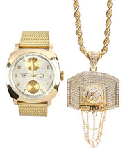Accessories - 2 Pc Watch And Hoop Necklace Set