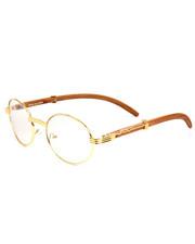 DRJ Sunglasses Shoppe - Oval Wood Frame Sunglasses