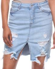 Fashion Lab - Destructed  Slit Front Denim Skirt-2199321