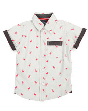 Tops - Flamingo All-Over Print Woven (2T-4T)