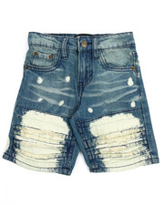 Akademiks - Pleated Rip & Repair Denim Shorts (2T-4T)