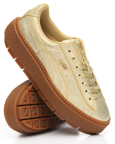 newest 5038f cce19 Buy Basket Platform Trace Gold Sneakers Women's Footwear ...