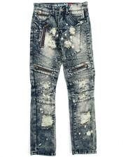 Jeans - Blue Motto Zipper Denim Jean (8-20)-2202593