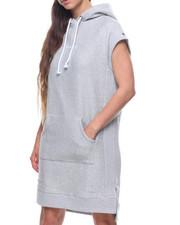 Dresses - Reverse Weave Hooded Dress-2203876