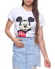 Graphix Gallery - Mickey Roll Cuff Shirt Tail Tee-2203982