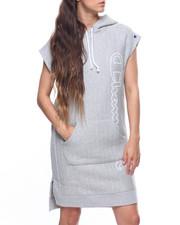 Dresses - Reverse Weave Hooded Dress-2203839
