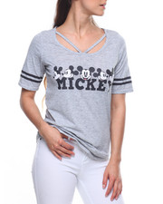 Graphix Gallery - Mickey Faces Burnout Criss Cross Neck Hockey Tee
