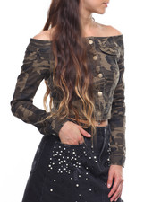 Fashion Lab - Off Shoulder Camo Jacket-2203712