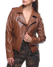 Outerwear - Faux Leather Moto Jacket/Zip Pockets