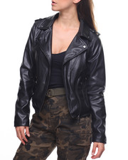 Outerwear - Faux Leather Moto Jacket/Zip Pockets-2203810