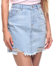 Fashion Lab - Destructed Back Pocket Denim Skirt-2199329