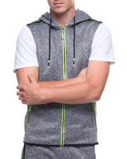 Hoodies - RYAN SLEEVELESS NEON TAPE HOODIE