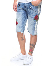 SMOKE RISE - DENIM SHORT W ROSE DETAIL-2205374