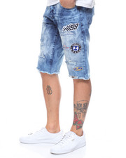 SMOKE RISE - RACING PATCH DISTRESSED CUT OFF SENIM SHORT-2205434
