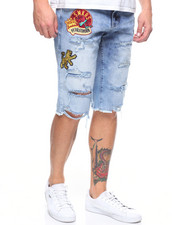 SMOKE RISE - CREST PATCH DISTRESSED CUT OFF DENIM SHORT-2205456