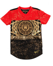 Boys - Color Block Foil Print Football Jersey (8-20) -2206525