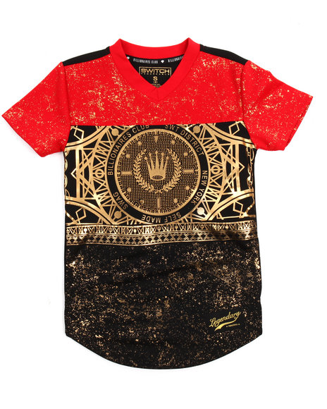 SWITCH - Color Block Foil Print Football Jersey (8-20)